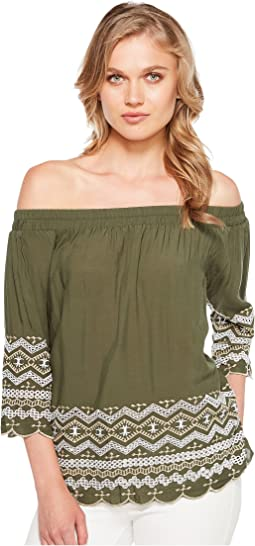 Off the Shoulder Embroidery Top