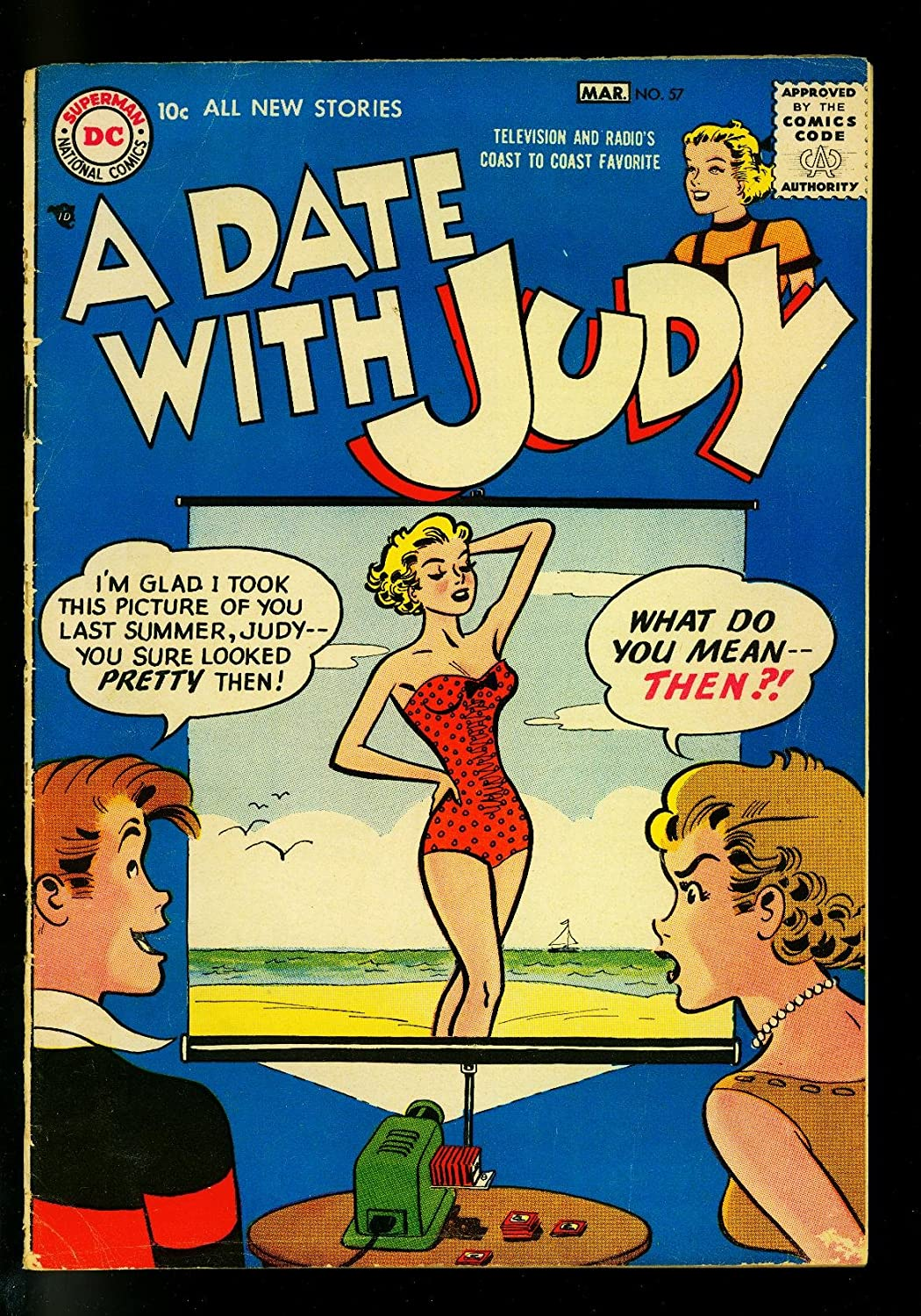 Date with Judy #57 1957- Swimsuit free Charlotte Mall Humo projector cover- DC slide