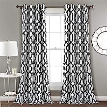 مجموعة ستائر نافذة بيضاء وسوداء من Lush Decor مطبوع عليها Edward Trellis لغرفة المعيشة وغرفة الطعام وغرفة النوم (زوج)، 95 ...