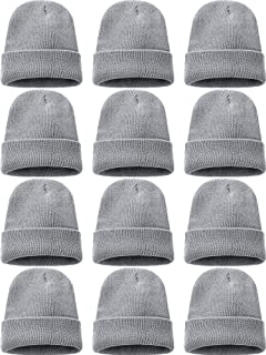 Zhanmai 12 Pieces Knit Hat Beanie Hats Warm Cozy Knitted Cuffed Skull Cap for Adults Kids