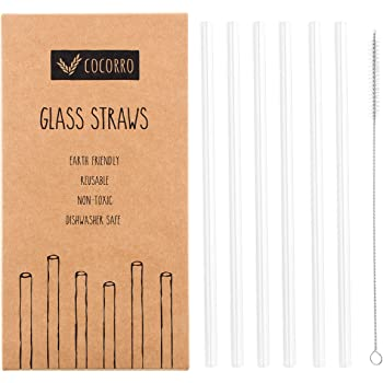 Reusable Glass Straws Clear Straight 8.7 Inches x 8 mm with Cleaning Brush