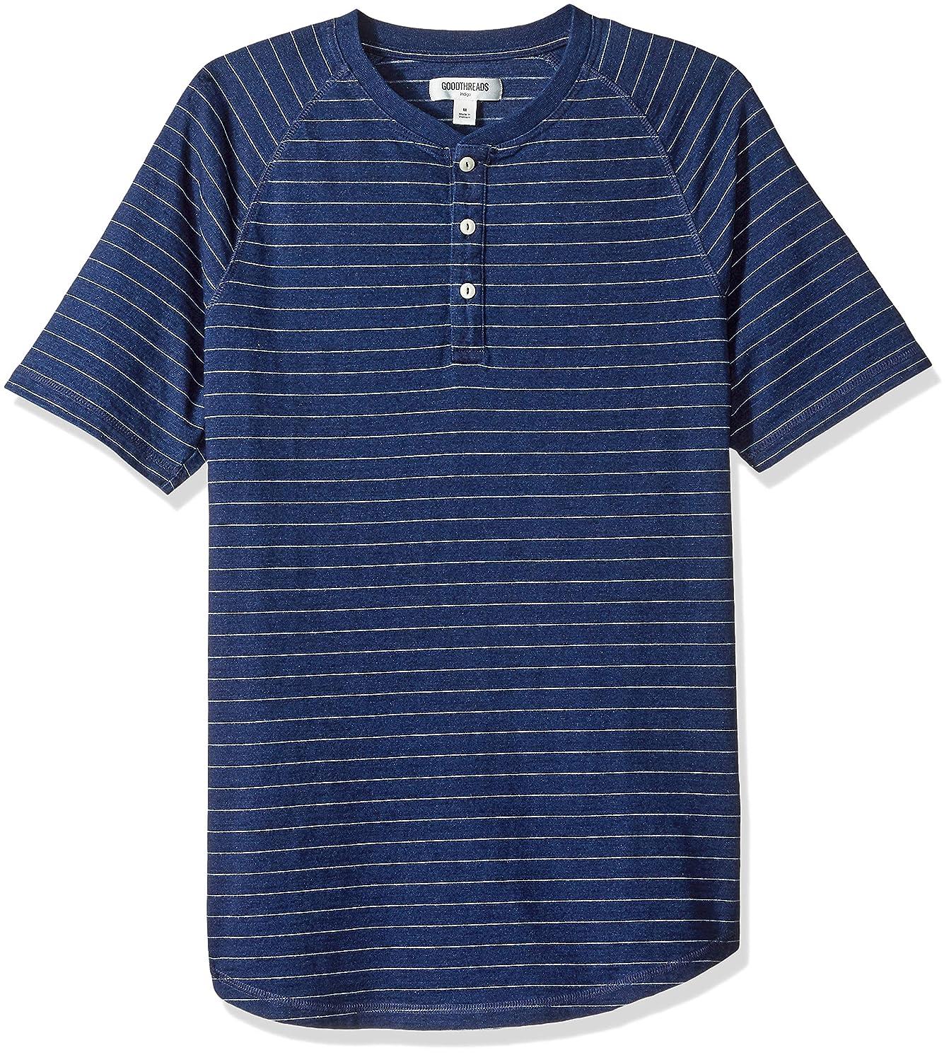 Amazon Brand - Goodthreads Men's Short-Sleeve Indigo Henley