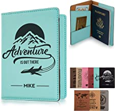 Personalized Passport Holder, 10 Color Leatherette Passport Cover for Women and Men, Custom Travel Accessories, Travel Wallet, Family Passport Wallet, Travel Gifts - Teal