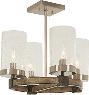 Minka Lavery Semi Flush Mount Ceiling Light 4637-106 Bridlewood Lighting Fixture, 4-Light 240 Watts, Stone Grey