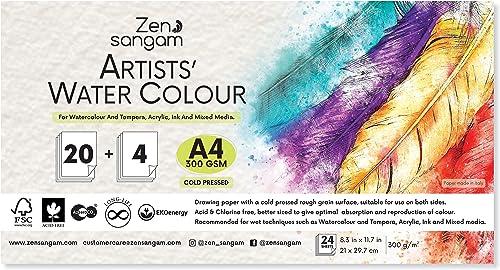 Zen Sangam Artists' Watercolour Papers, Cold Pressed Rough Grain Surface, 300 GSM, Acid Free, A4 Size (21x29.7cm), 24...