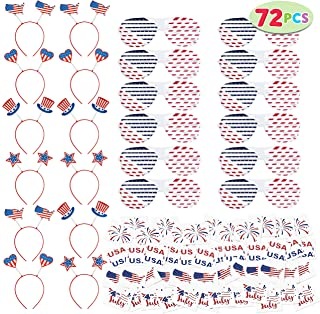 Supla 53 Pack Patriotic Party Decorations 4th of July Tattoos Patriotic Stickers Tattoos American Flag USA Patriotic Shutter Glasses Patriotic Beaded Necklaces Patriotic Headbands Head Boppers Fake Mustaches Rubber Wristbands Bracelets