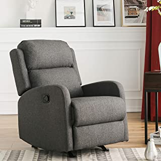 Manual Glider Recliner Rocker Polyester Fabric Single Reclining Armchair Sofa Couch Padded Seat Home Theater Office Lounge Living Room Seating, 2-Position, Stylish & Comfortable, by XTWEEX (Dark Grey)
