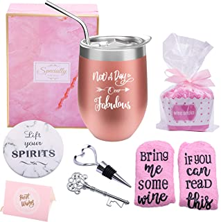 Yorktend Not a Day Over Fabulous Wine Tumbler - Fun Birthday Gifts for Women - Funny Birthday Wine Gift Ideas for Her, Best Friend BFF, Mom, Grandma, Wife, Daughter, Sister, Aunt, Coworker