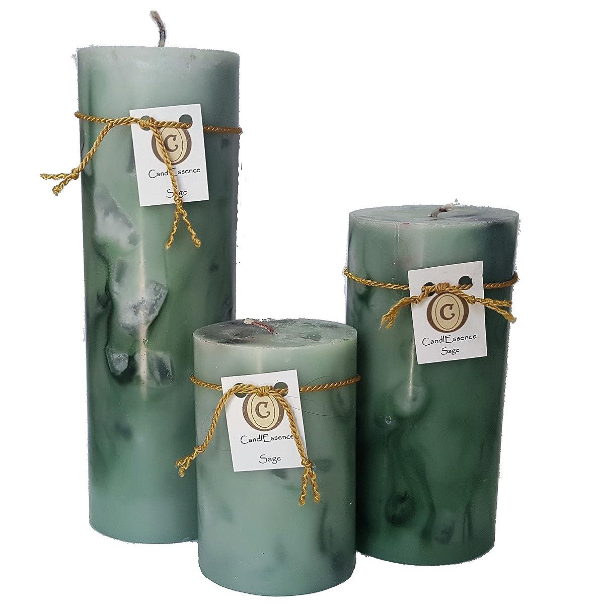 旅客渦独立してハンドメイドScented Candle?–?Long Burningピラー?–?セージ香り Set of 3 グリーン SAGE