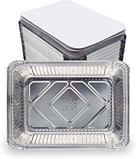 Fig & Leaf (60 Pack) Premium 2.5-LB Takeout Pans with LIDS l Standard 8.6