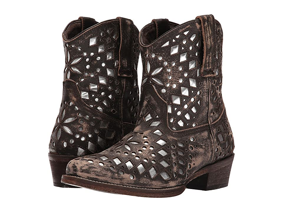 Roper Brighton (Brown Sanded Leather/Metallic Cutouts) Cowboy Boots