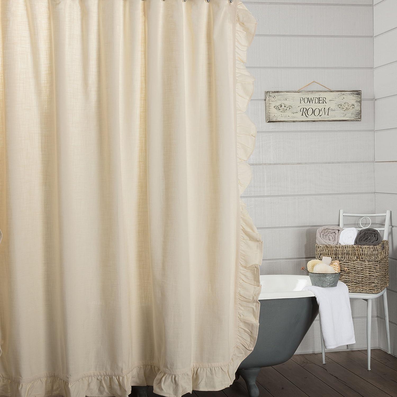 Piper Classics Ashley Natural Beige Ruffled Shower Curtain, 72x72, Farmhouse Style Bathroom Décor