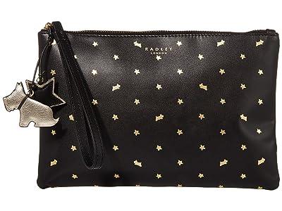 Radley London Regents Row Medium Zip Top Clutch (Black Print) Clutch Handbags