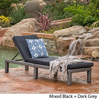 Venice Outdoor Mixed Black Wicker Chaise Lounge with Dark Grey Water Resistant Cushion