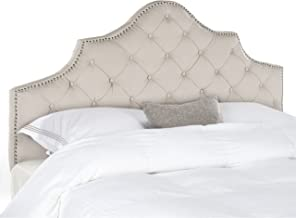 Safavieh Arebelle Taupe Linen Upholstered Tufted Headboard - Silver Nailhead (King)