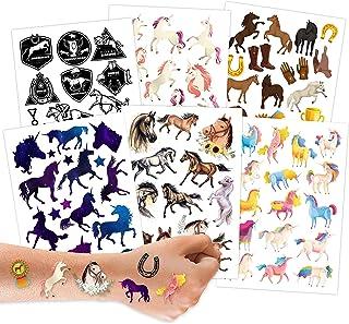 100 tatuaży do naklejenia - przyjazne dla skóry dzieci tatuaże konie - przyjazne dla dzieci wzory - jako prezent urodzinow...