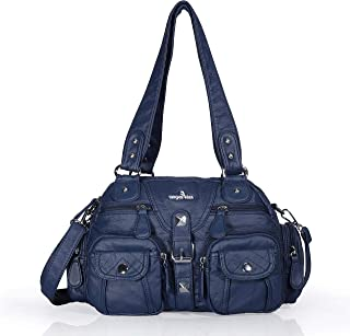 AngelKiss Top-handle Purses and Handbags for Women,Middle Size Soft Pu Leather Shoulder Bags AK 18579