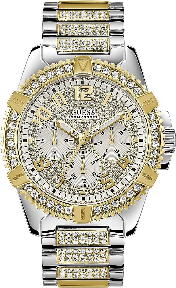 Guess,orologio,cronografo per uomo,in acciaio lucido ip gold con cristalli e quadrante con pave` di cristalli W0799G4