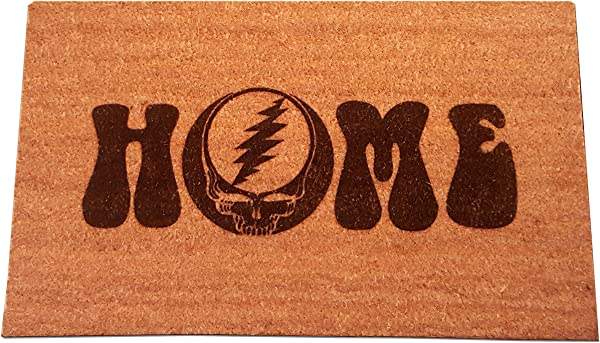 Grateful Dead Steal Your Face Home Laser Engraved Coir Fiber Welcome Doormat 30 X 18