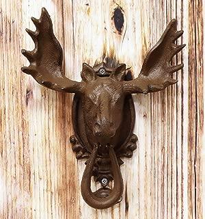 Ebros Gift Rustic Western Forest Horned Bull Moose Head Cast Iron Door Knocker 10
