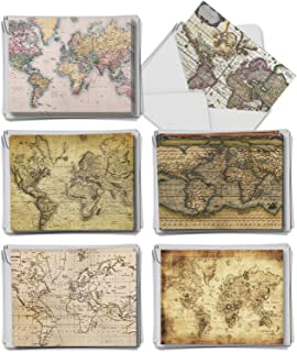 Map Quests Thank You From Teacher - 36 Boxed Note Cards with Envelopes (4 x 5.12 Inch) - Assorted Notecard Set for Teachers, Geography Professors, Cartography (6 Designs, 6 Each) AM3076FTG-B6x6
