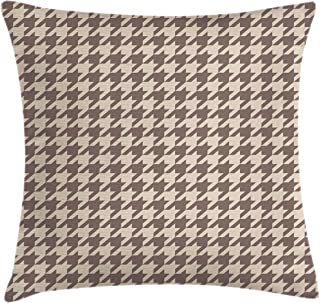 Lunarable Vintage Throw Pillow Cushion Cover, Traditional Scottish Houndstooth Pattern in Pastel Colors Tartan Plaid Retro, Decorative Square Accent Pillow Case, 18