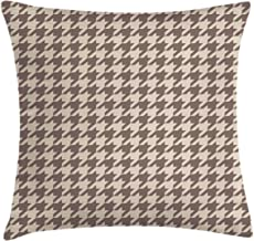 Lunarable Vintage Throw Pillow Cushion Cover, Traditional Scottish Houndstooth Pattern in Pastel Colors Tartan Plaid Retro, Decorative Square Accent Pillow Case, 18 X 18, Brown Umber