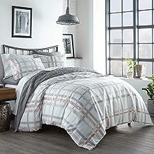 City Scene Atlas Plaid Comforter Set, King, Grey