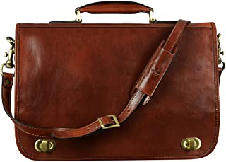 Leather Briefcase for Men Italian Handcrafted Full Grain Messenger Bag for Laptop Dark Brown - Time Resistance