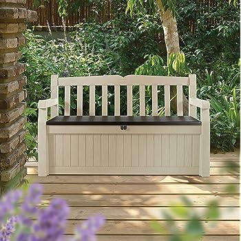 BANCO EDEN GARDEN BENCH | Banco y arcón de ordenación exterior imitación madera. Fácil montaje mediante sistema click. Refuerzos metálicos en zona de asiento. 265 L de capacidad. 140x60x84 cms: Amazon.es: Jardín