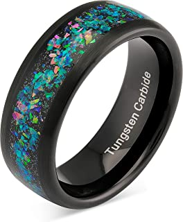 100S JEWELRY Engraved Personalized Black Tungsten Wedding Ring for Men Women Opal Inlay Comfort Fit Style Size 6-16