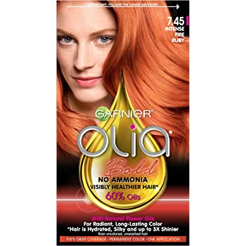 Garnier Olia Bold Ammonia Free Permanent Hair Color (Packaging May Vary), 7.45 Intense Fire Ruby, Red Hair Dye, Pack of 1