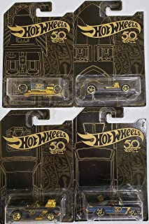 New 1:64 Hot Wheels 50th Anniversary Black & Gold Collection - Bone Shaker, Twin Mill, Rodger Dodger & Dodge Dart Set of 4 Diecast Model Car by Hotwheels