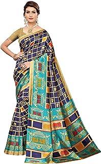 CRAFTSTRIBE Art Silk Checks Wine Color Indian Beauty Fashion Saree for Women