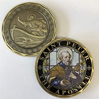 Aizics Mint ST. Peter The Apostle Christian Catholic Commemorative Coin. Cast with Colorized Saint and Beautiful Iron Plating & Ancient Bronze Original one-of-a-Kind Design.
