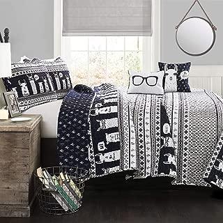 Lush Decor Llama Striped Quilt Reversible 5 Piece Kids Bedding Set, Full Queen, Navy