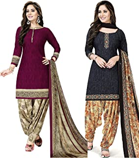 Rajnandini Women's Magenta and Navy Blue Crepe Printed Unstitched Salwar Suit Material (Combo Of 2) (Free Size)