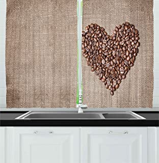 Coffee Decor Collection, Heart Made from Coffee Beans On Textured Sack Delicious Drink Aroma Lifestyle Art, Window Treatments for Kitchen Curtains 2 Panels, 55X39 inches, Brown
