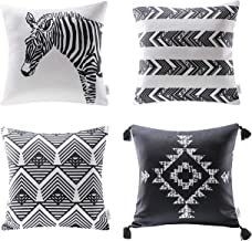 Ashler Pillow Covers for Geometry Cushion Covers Squares Throw Pillow Cover for Living Room 18 X 18 inch Pack of 4