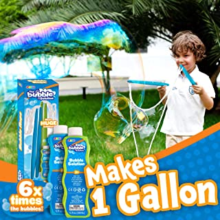2 Giant Bubble Wands with 2 Concentrated Bubble Refill Solution (Make 1 Gallon Total) for Kids, Big Large Bubble Maker in ...