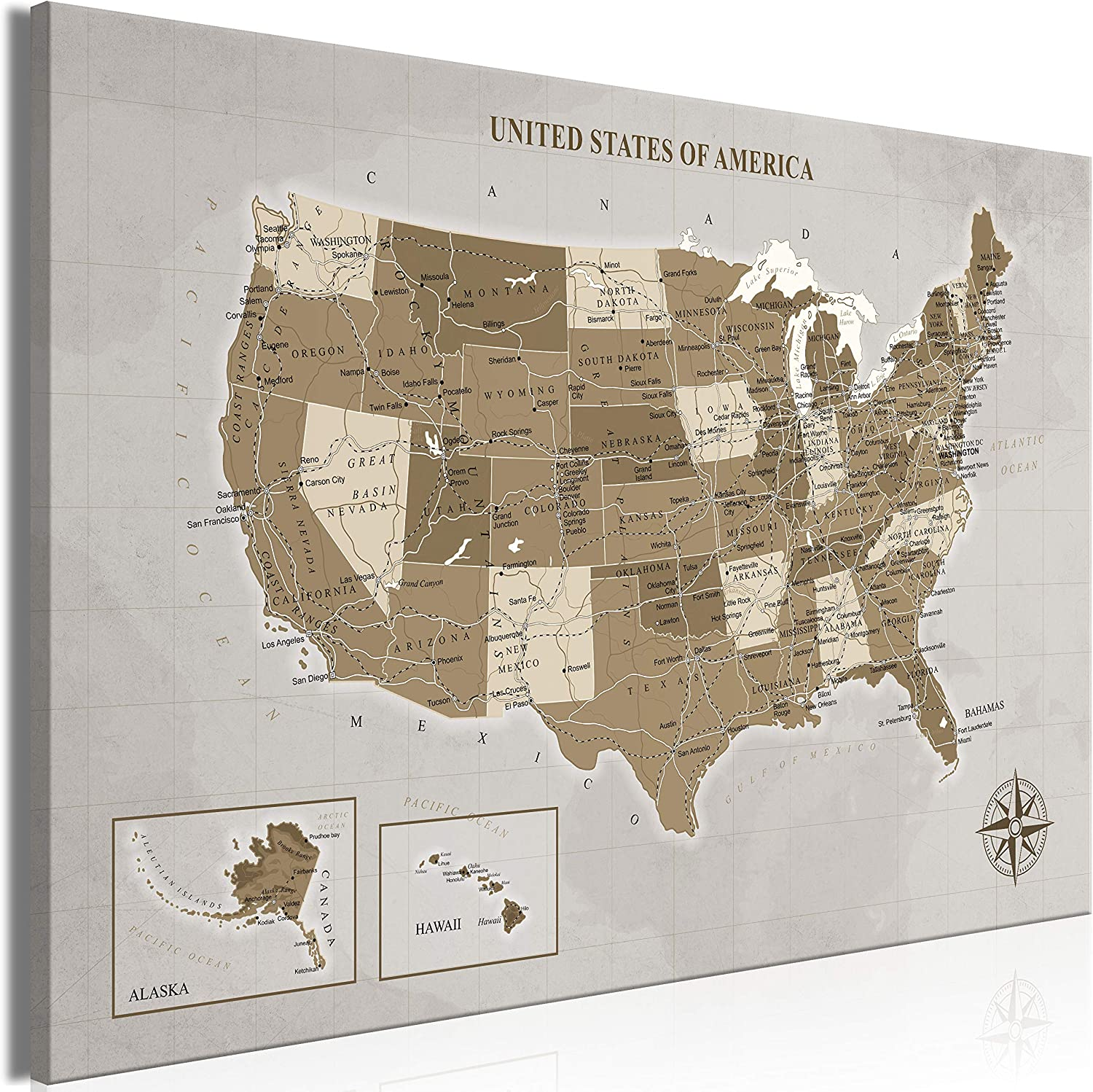 artgeist Canvas Wall Sales of SALE items from new works Art Print Map States The USA United service