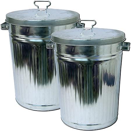 Zink Abfalleimer mit Deckel 55 Liter XXL Mülleimer draußen Outdoor Tonne