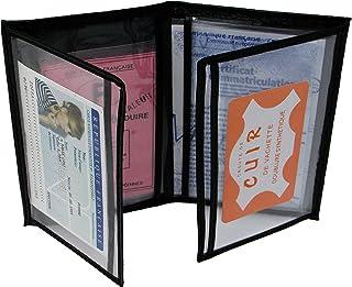 MAMJACK® - Porte Papier Voiture en Cuir - Format 4 Volets - étui Carte Grise, permis de Conduire, Carte d'identité, Assura...
