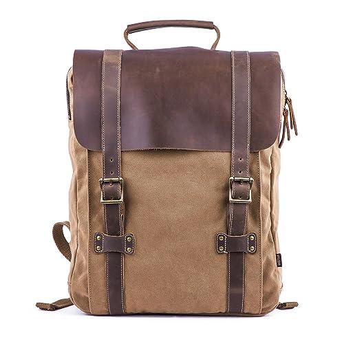 2bf1f2e7010 Gootium Leather Canvas Backpack - Vintage Rucksack 15.6