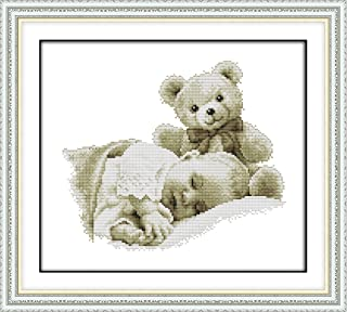 CaptainCrafts Hot New DIY Art Cross Stitch Kits Needlecrafts Patterns Counted Embroidery Kit - Sleeping Boy and Doll (White)