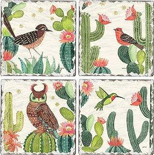 CounterArt Set of 4 Assorted Tumbled Tile Coasters Folk Art Desert Scenes