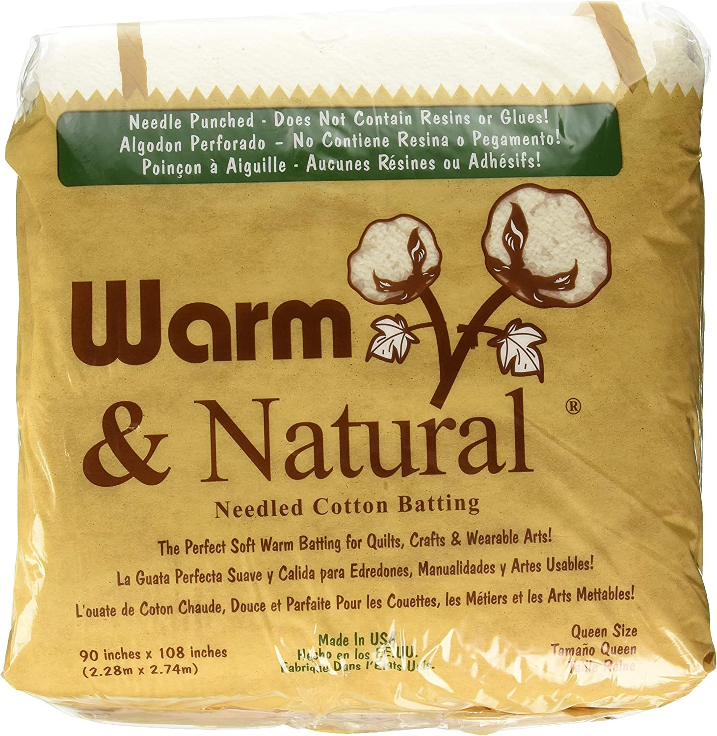 Twin 2.Pack Warm Company Batting 2391 72-Inch by 90-Inch Warm and Natural Cotton Batting