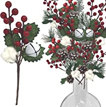 Christmas Picks with Red Berries and Pinecones - Set of 9 Assorted Styles White Jingle Bells, White Cottonwoods, Green Pin...
