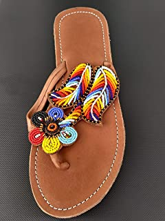 38 Europe Size 7 Handcrafted in Kenya Leather Flip Flops Handmade African Maasai Sandals White KS48 Cowrie Shell /& Beads Sole length 10.03 inches//25.5 cm