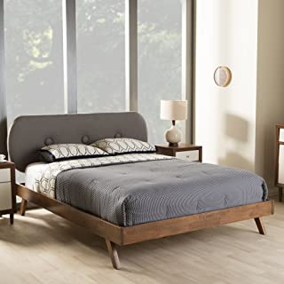 Baxton Studio Penelope Tufted King Platform Bed in Gray